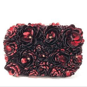 ALICE + OLIVIA clutch red rose flower crystals